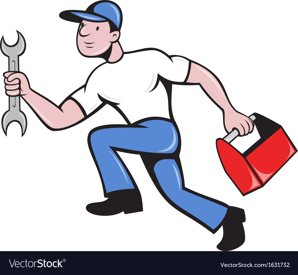 Mechanic repairman with spanner running vector | Price: 1 Credit (USD $1)