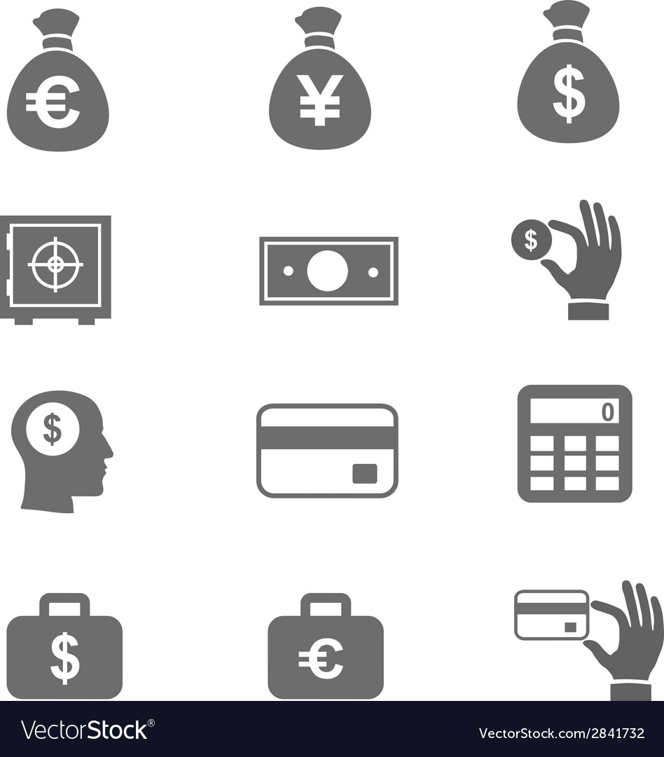 Money and coin icon set eps10 vector | Price: 1 Credit (USD $1)