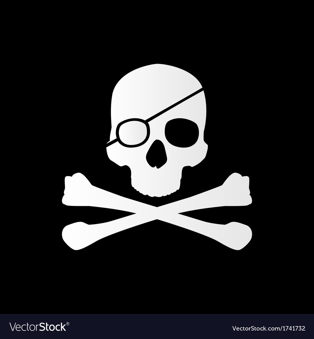 Pirate sign skull and bones jolly roger vector | Price: 1 Credit (USD $1)