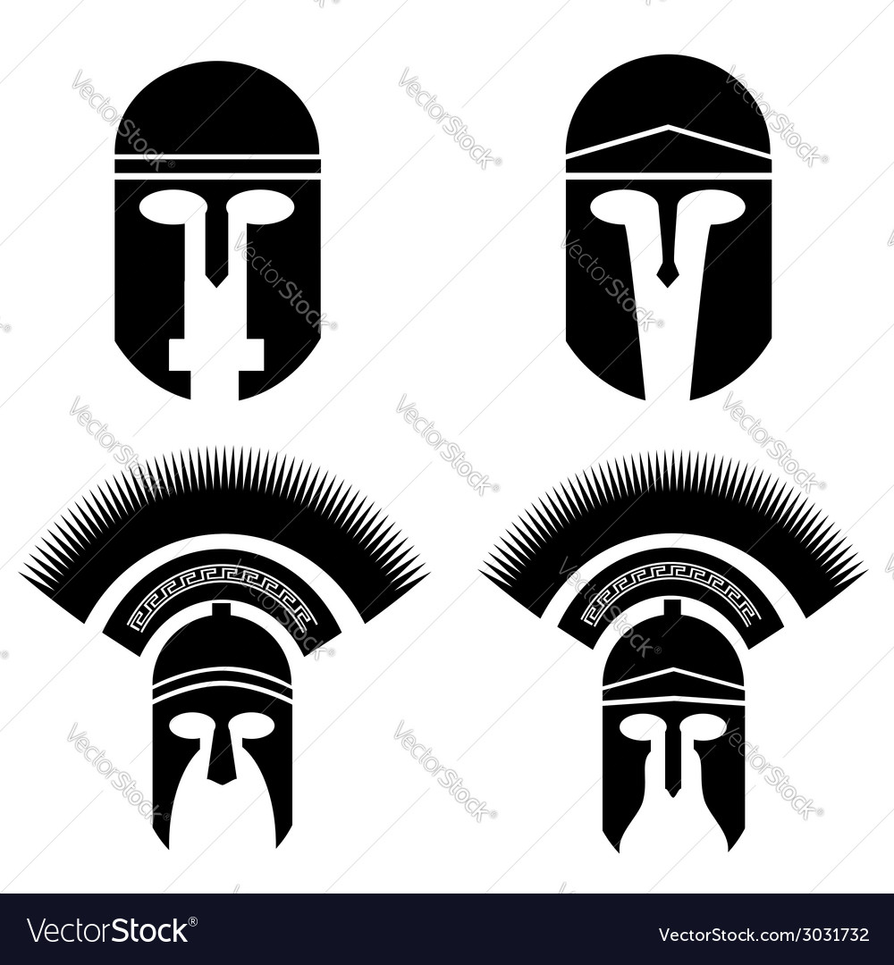 Roman and greek helmets vector | Price: 1 Credit (USD $1)
