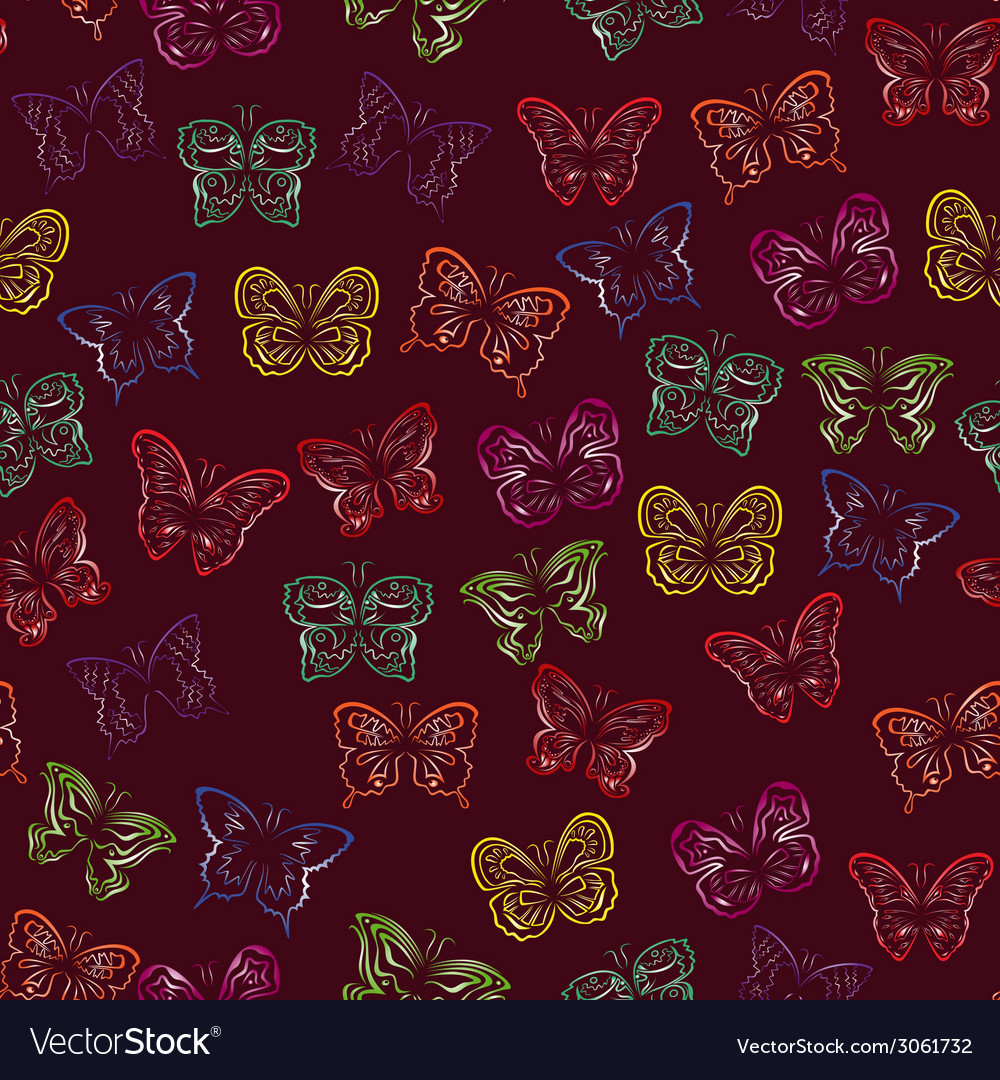 Seamless pattern with gradient butterflies vector | Price: 1 Credit (USD $1)