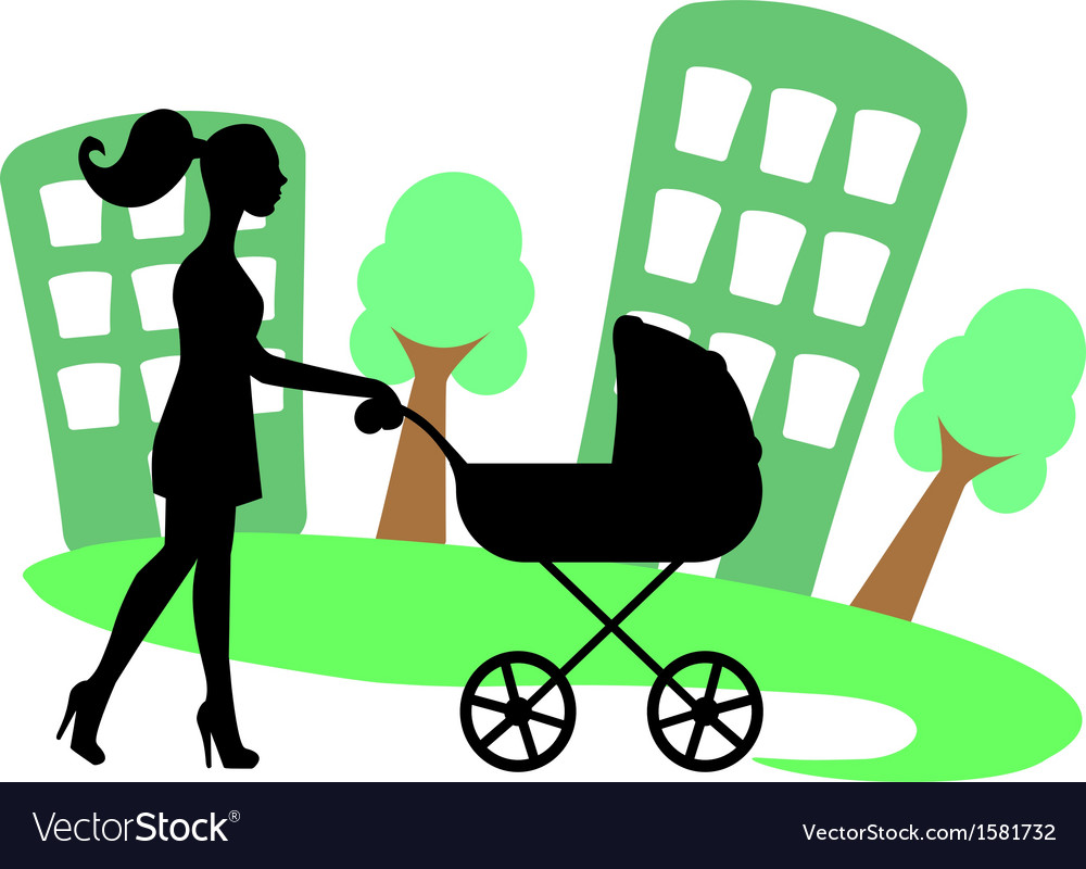 Silhouette of a woman with a baby carriage vector | Price: 1 Credit (USD $1)