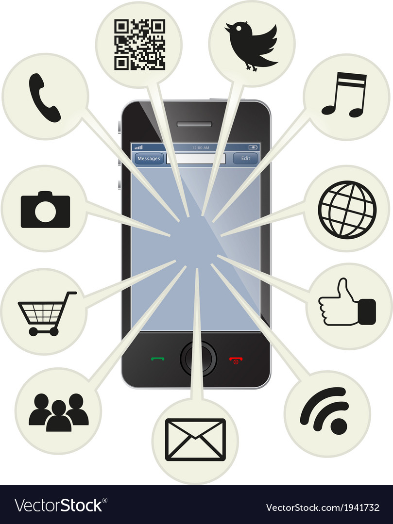 Social smart phone vector | Price: 1 Credit (USD $1)