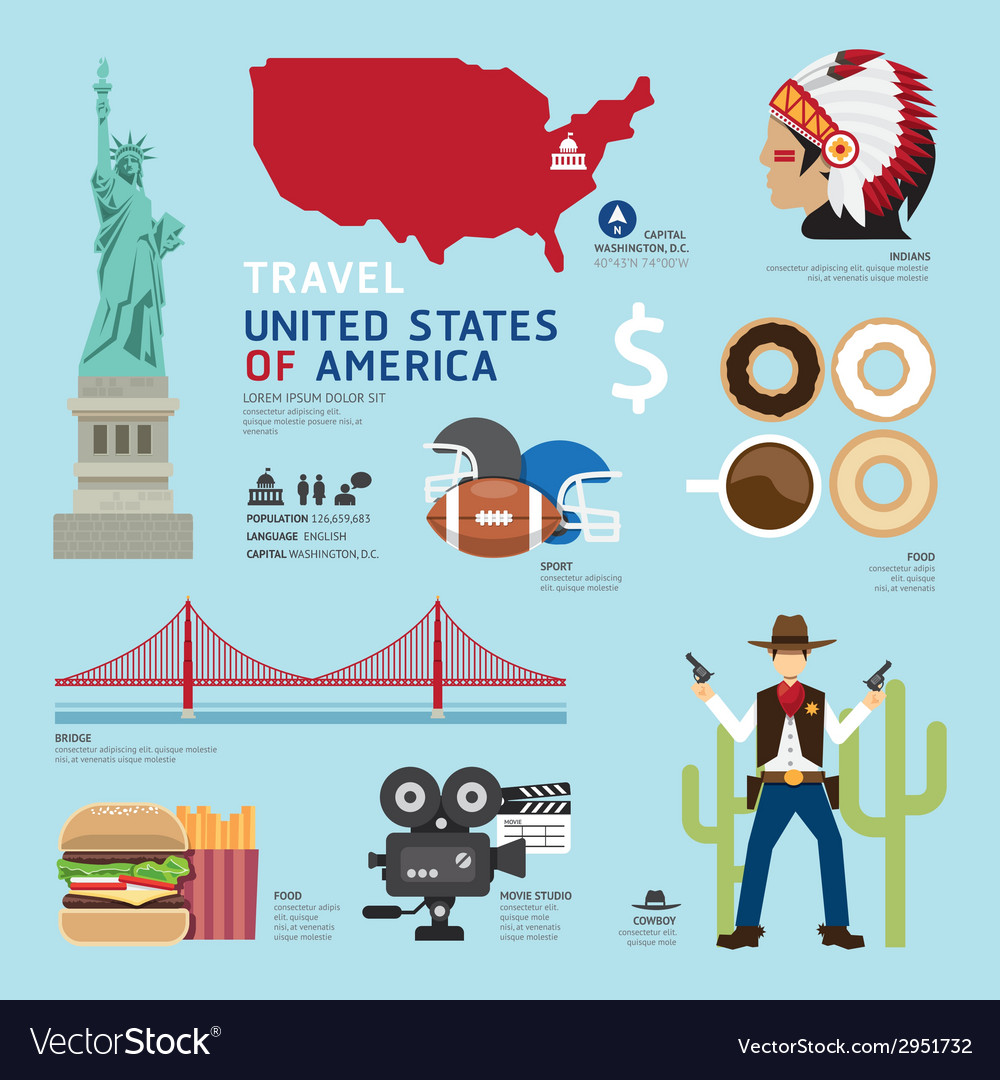Travel concept usa landmark flat icons design vector | Price: 1 Credit (USD $1)