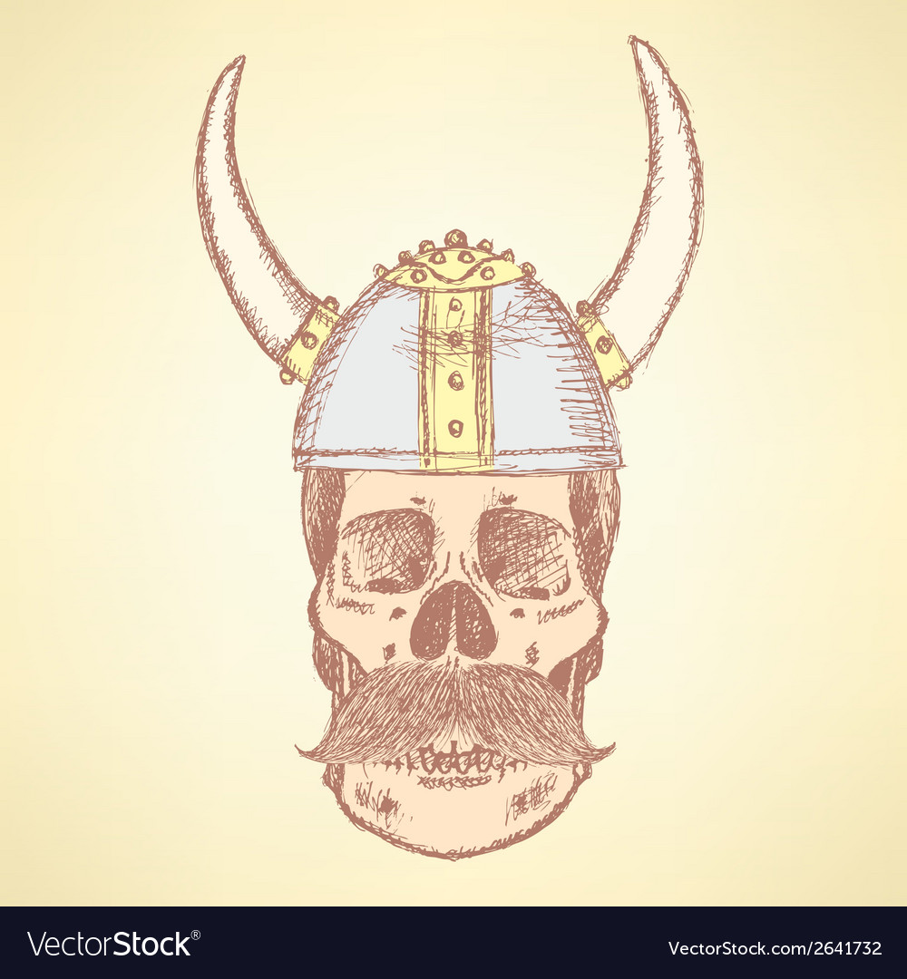 Viking helmet skull vector | Price: 1 Credit (USD $1)