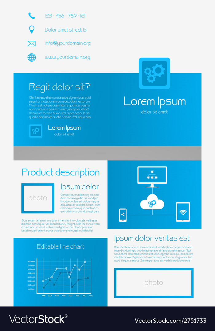Business brochure template - blue and white vector | Price: 1 Credit (USD $1)
