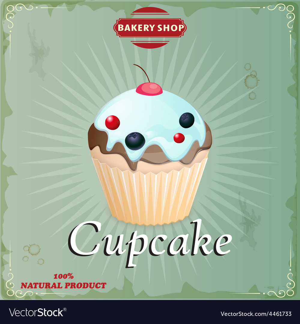 Cake in retro style vector | Price: 1 Credit (USD $1)