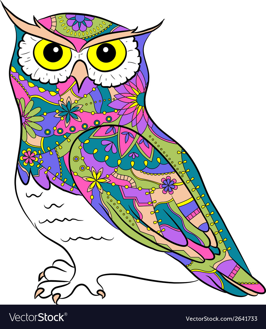 Colorful painted owl vector | Price: 1 Credit (USD $1)