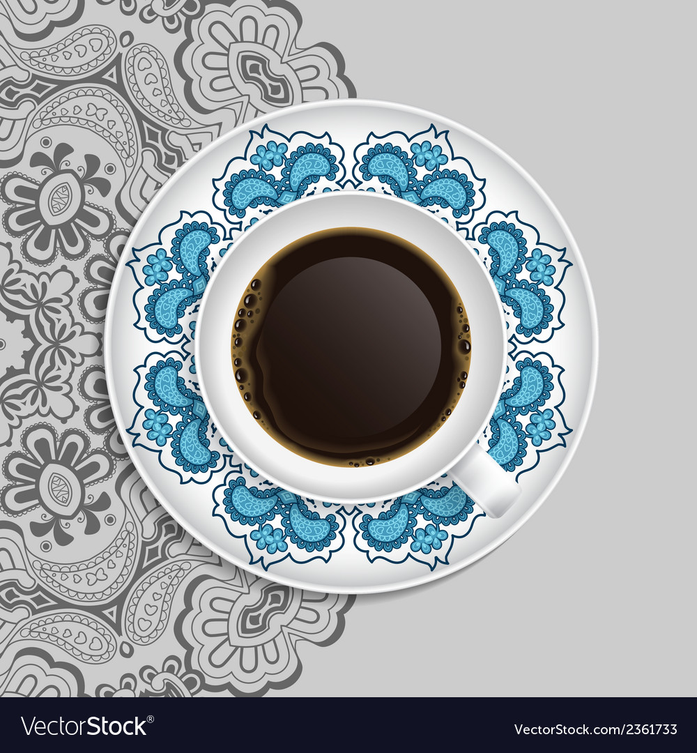 Cup of coffee and decorative ornament on a saucer vector | Price: 1 Credit (USD $1)