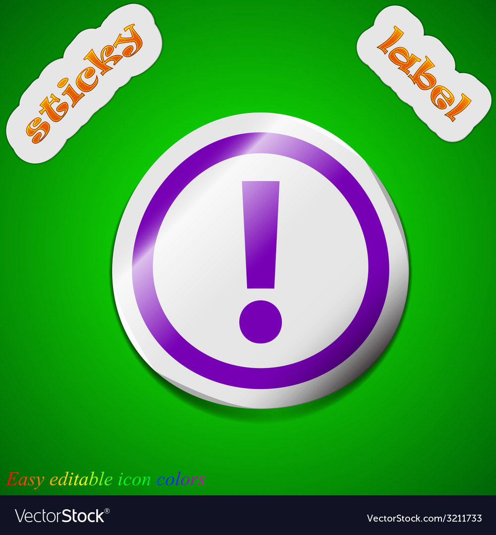 Exclamation mark icon sign symbol chic colored vector | Price: 1 Credit (USD $1)