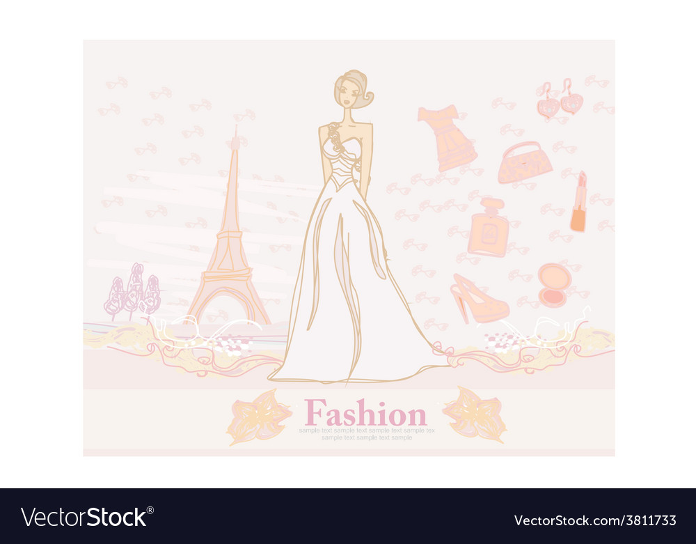 Feminine doodles shopping in paris vector | Price: 1 Credit (USD $1)