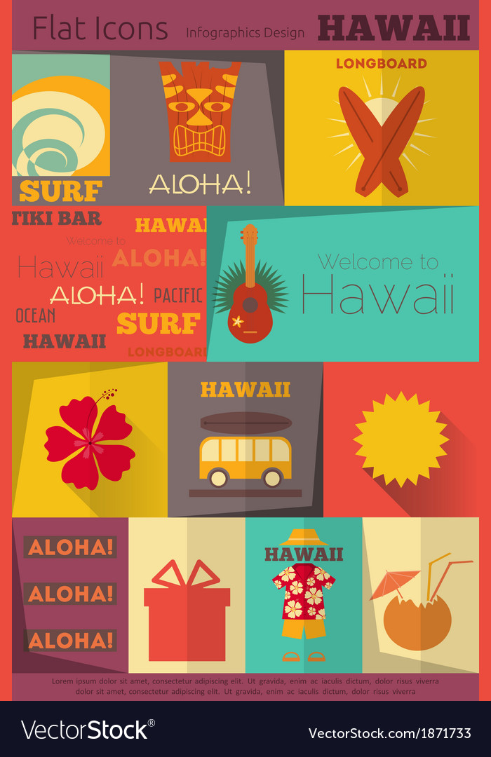 Hawaii surf retro vector | Price: 1 Credit (USD $1)