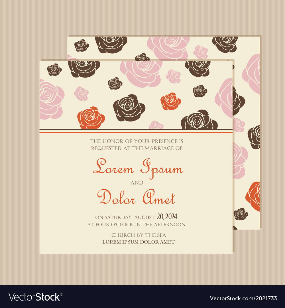 Invitation card with roses vector | Price: 1 Credit (USD $1)