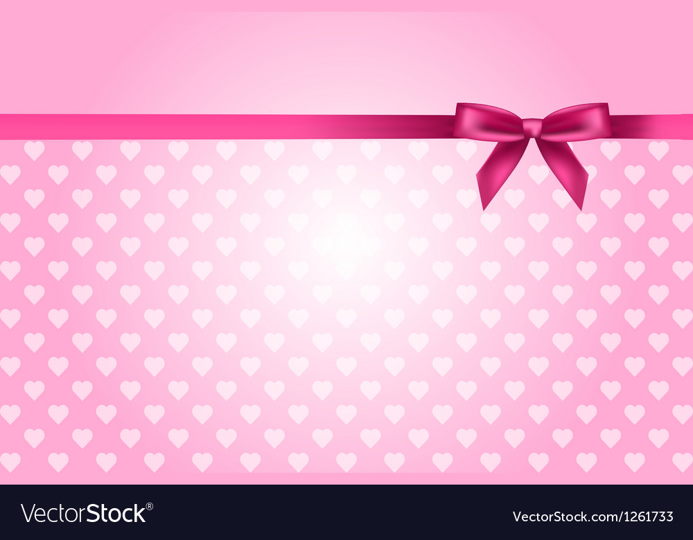 Pink background with hearts pattern and bow vector | Price: 1 Credit (USD $1)