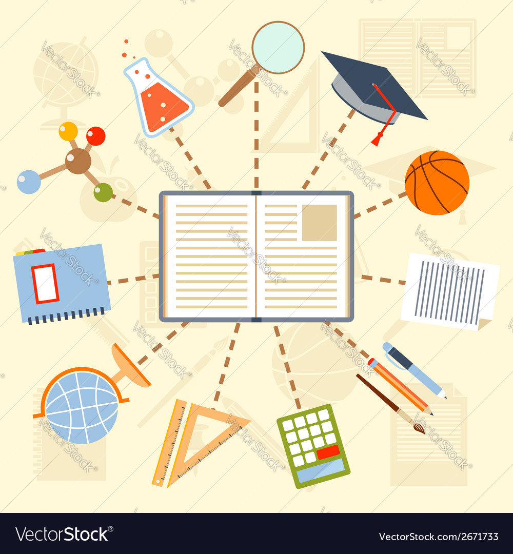 School supplies and tools around the book on a vector | Price: 1 Credit (USD $1)