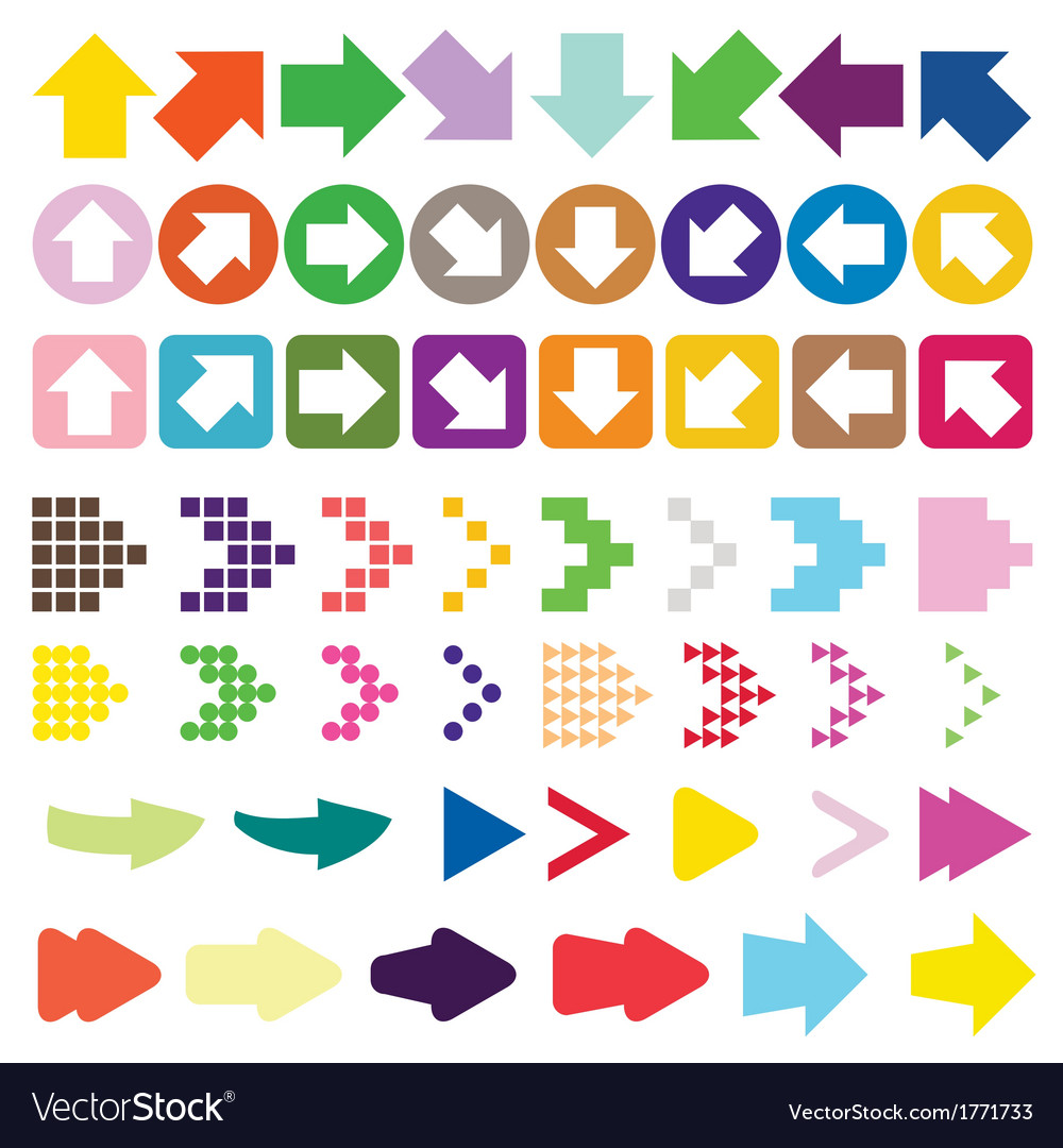 Set of arrow color full vector | Price: 1 Credit (USD $1)