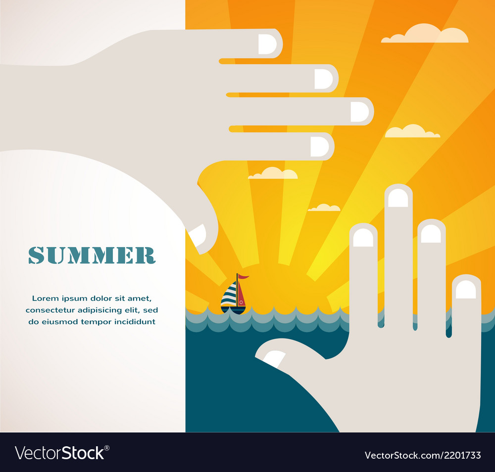 Summer view of a sea inside hand frame vector | Price: 1 Credit (USD $1)