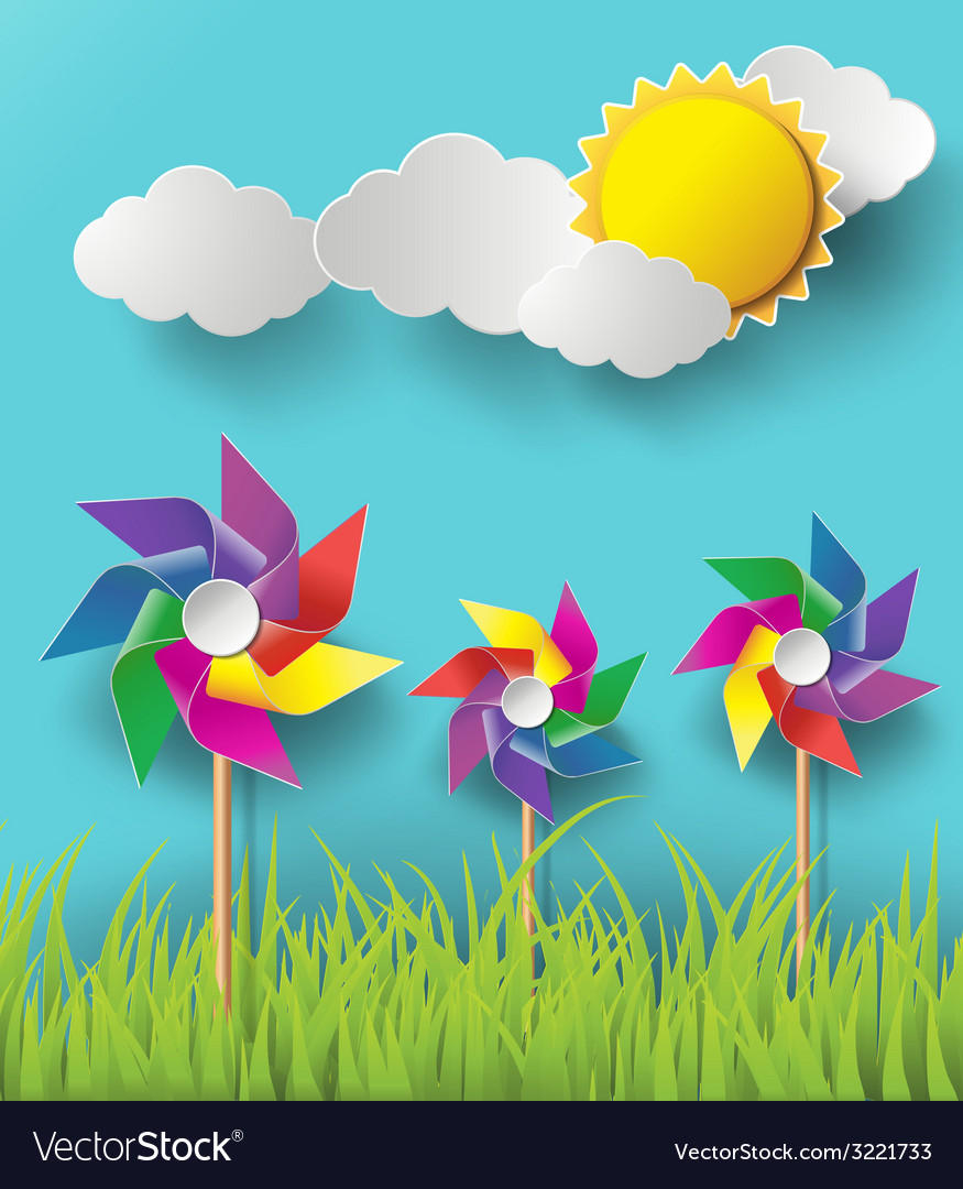 Wind mill with cloud vector | Price: 1 Credit (USD $1)