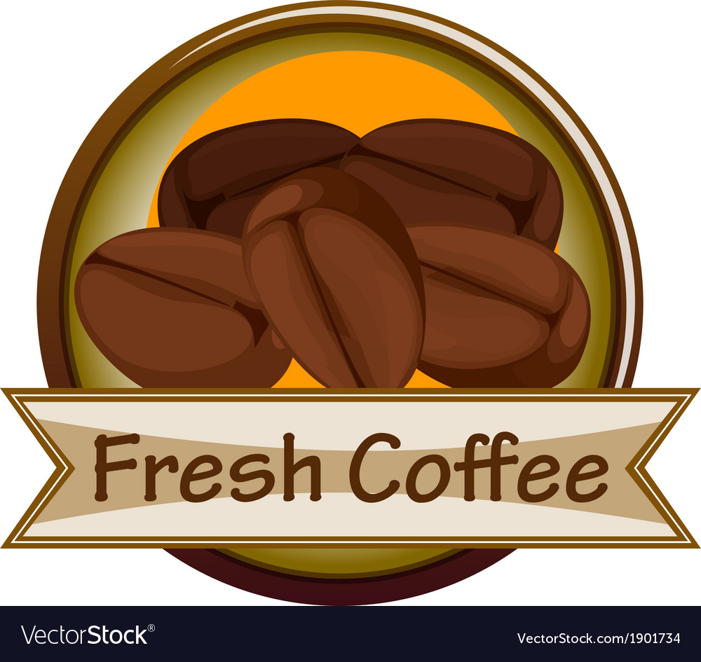 A fresh coffee label with coffee vector | Price: 1 Credit (USD $1)