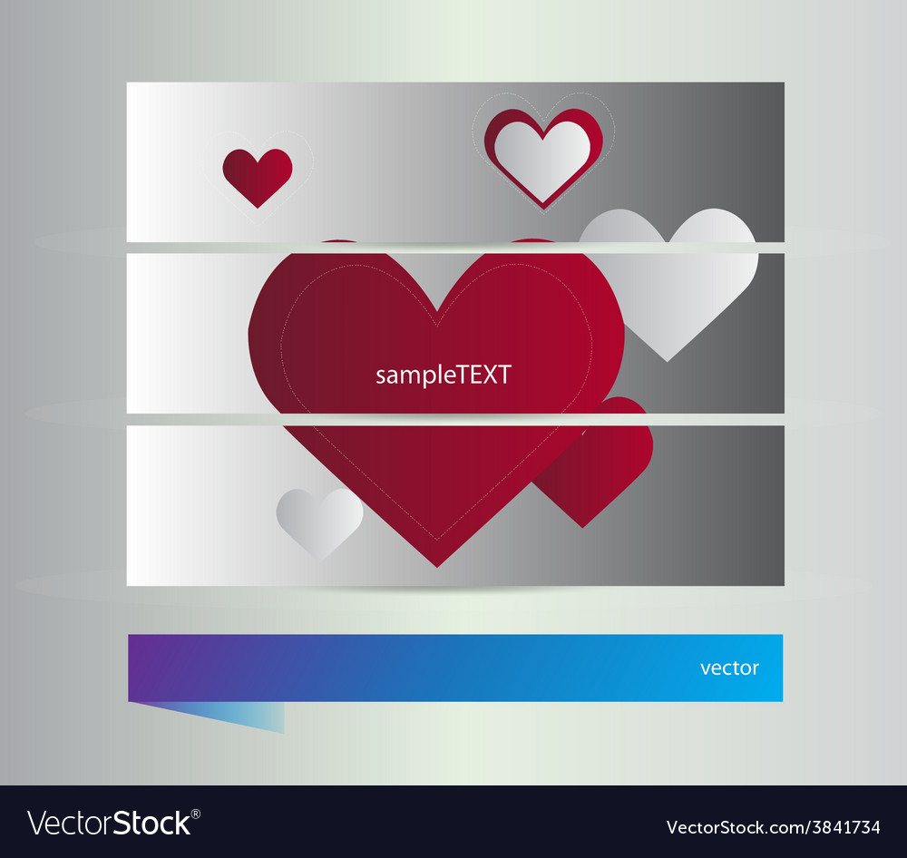 Banners with hearts vector | Price: 1 Credit (USD $1)