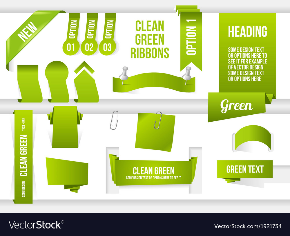 Bundle of green web elements vector | Price: 1 Credit (USD $1)