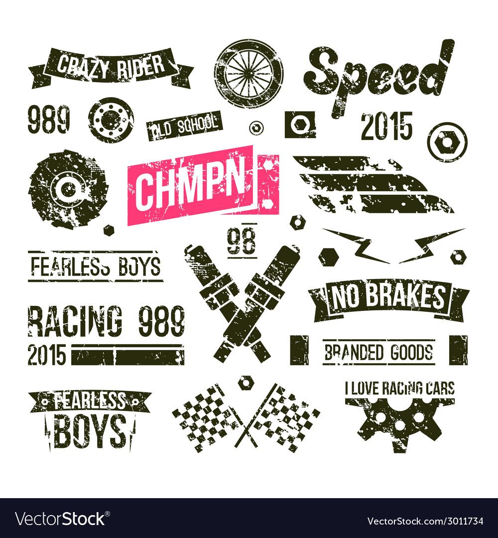 Car races club badges in retro style vector | Price: 1 Credit (USD $1)