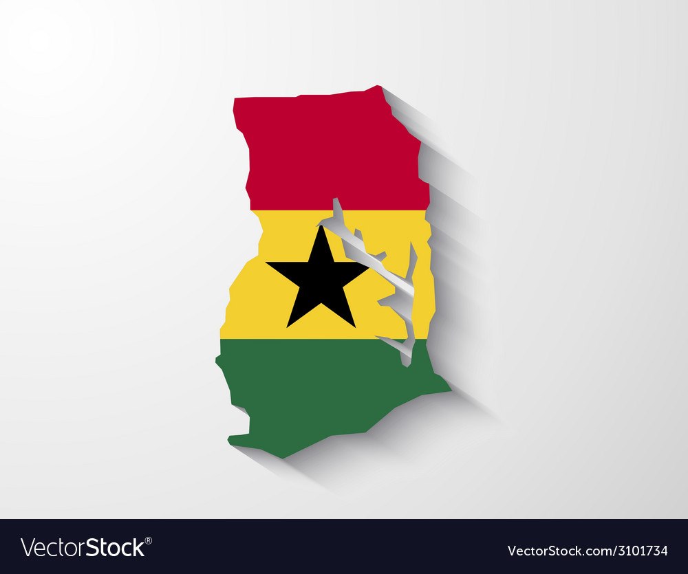 Ghana country map with shadow effect presentation vector | Price: 1 Credit (USD $1)