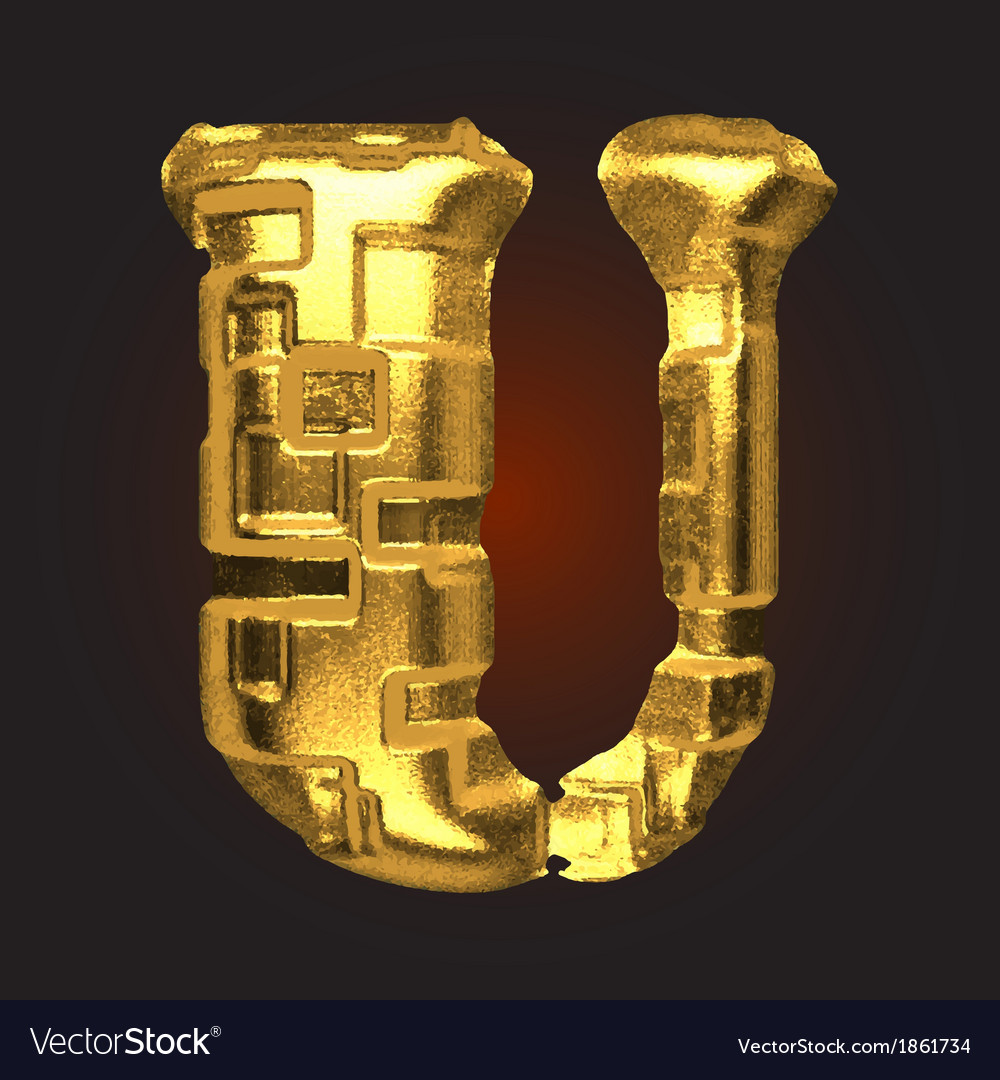 Golden letter u vector | Price: 1 Credit (USD $1)