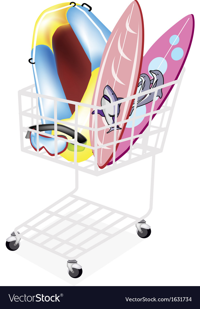 Inflatable boat and surfboards in shopping cart vector | Price: 1 Credit (USD $1)