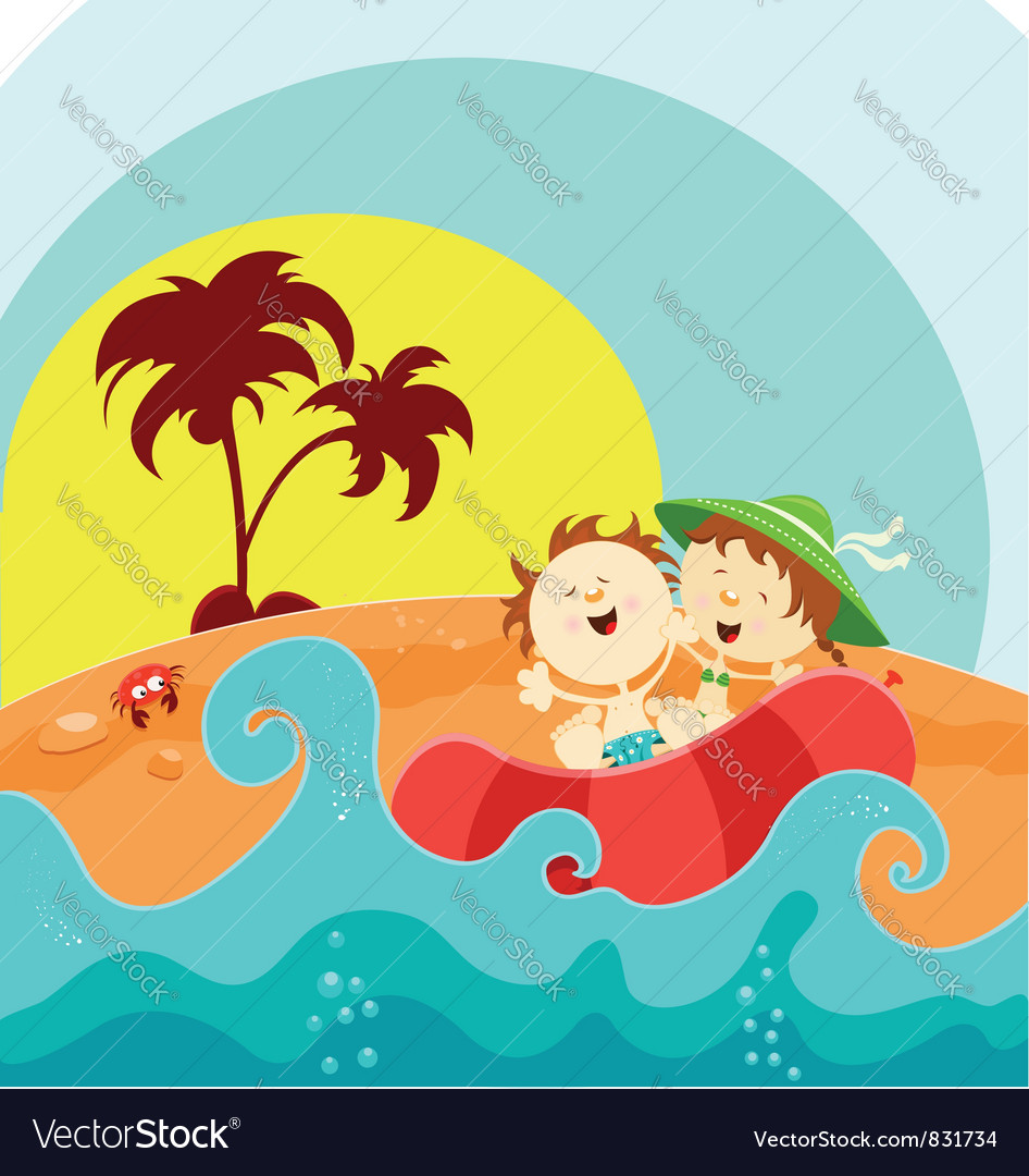Kids on boat vector | Price: 3 Credit (USD $3)