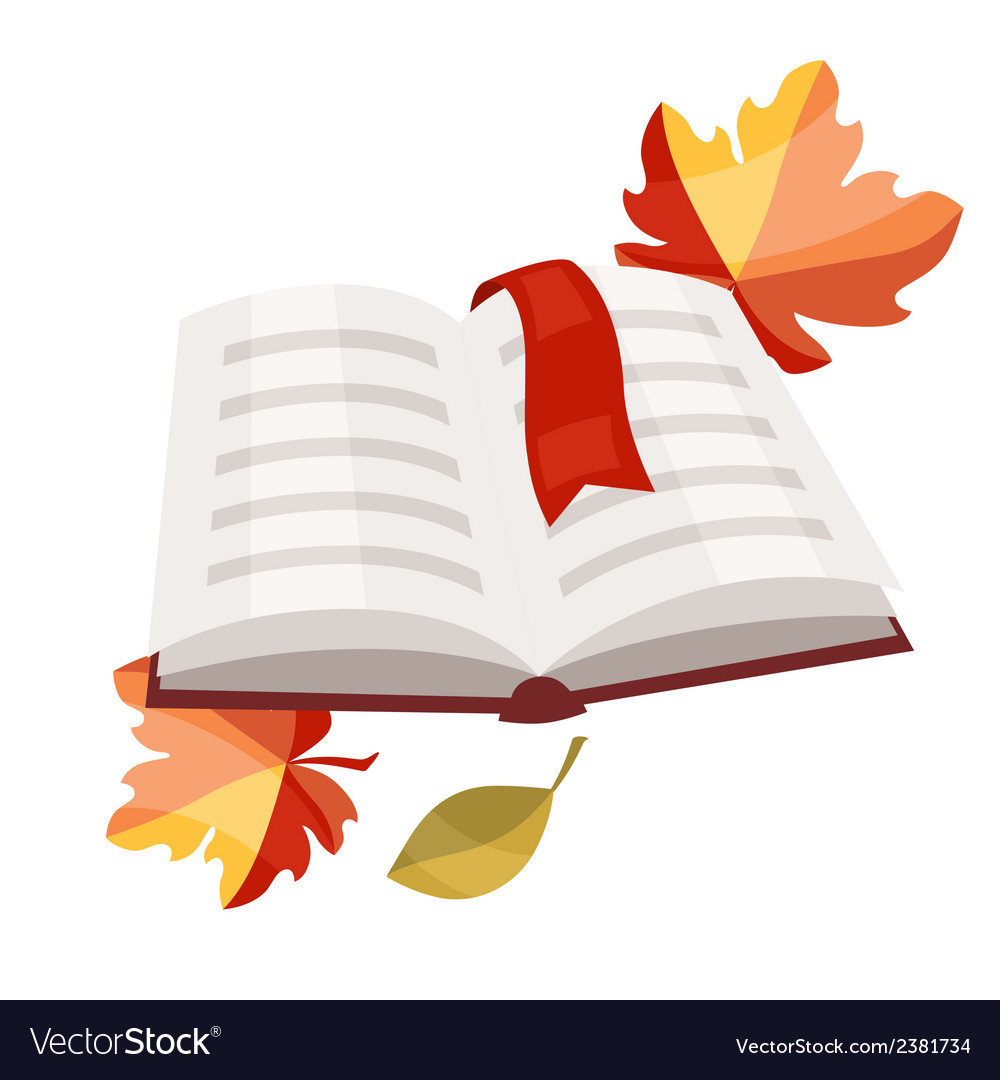 Open book with bookmark and autumn leaves vector | Price: 1 Credit (USD $1)
