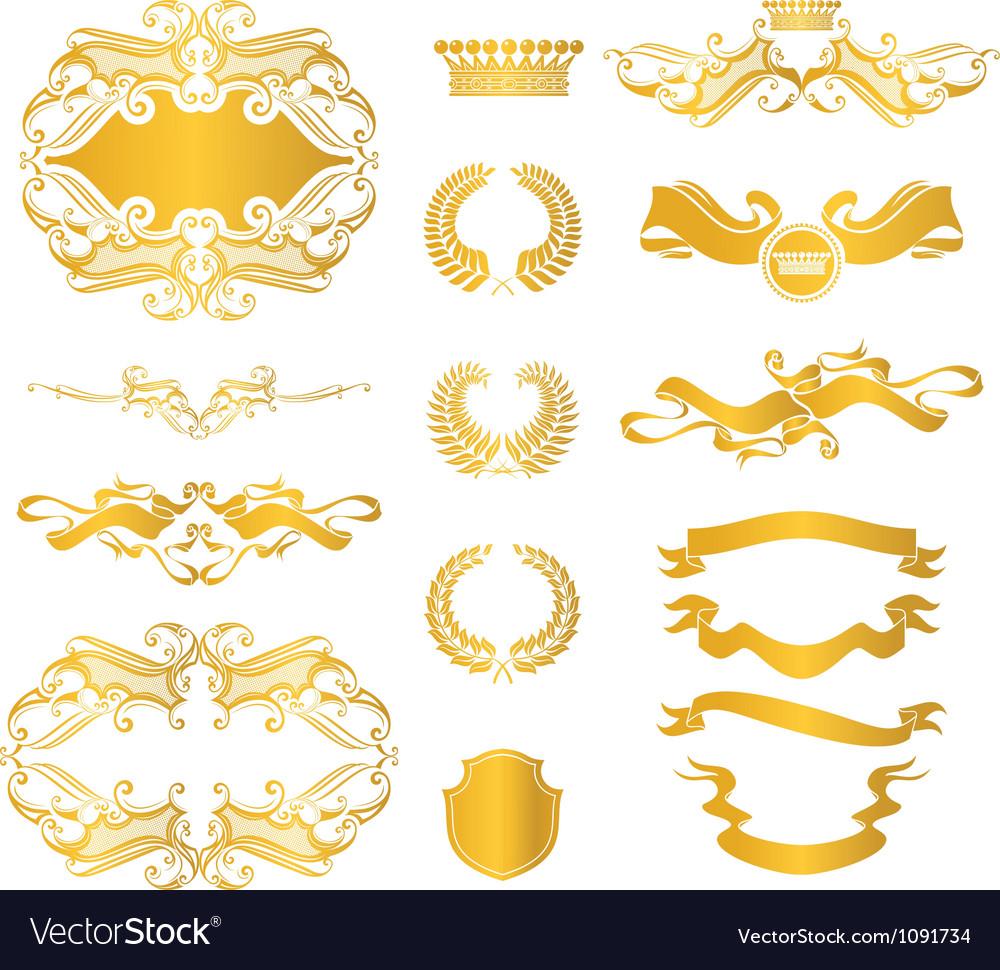 Set of heraldic elements vector | Price: 1 Credit (USD $1)