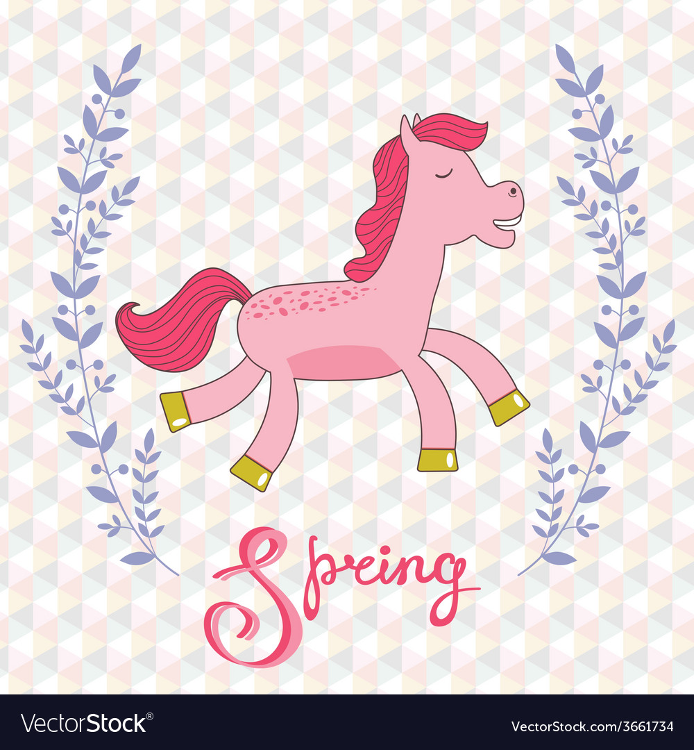 Spring concept card with cute running horse vector | Price: 1 Credit (USD $1)