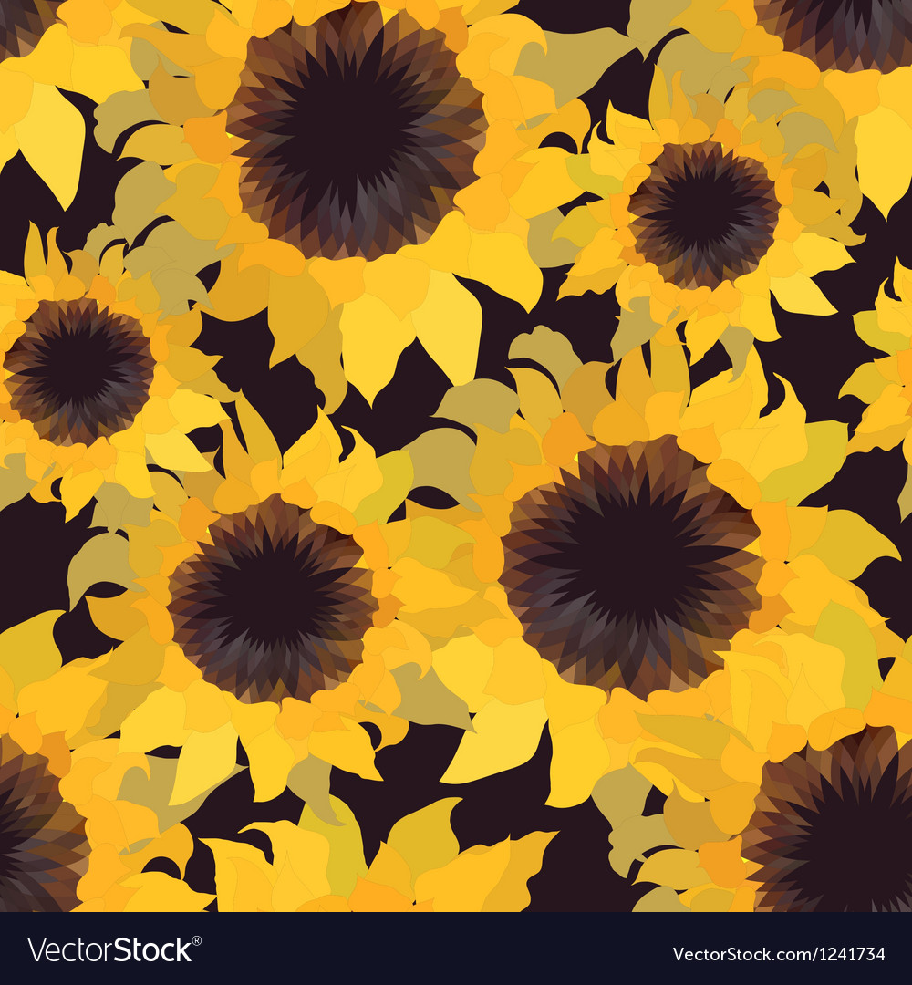 Sunflower flower seamless pattern vector | Price: 1 Credit (USD $1)