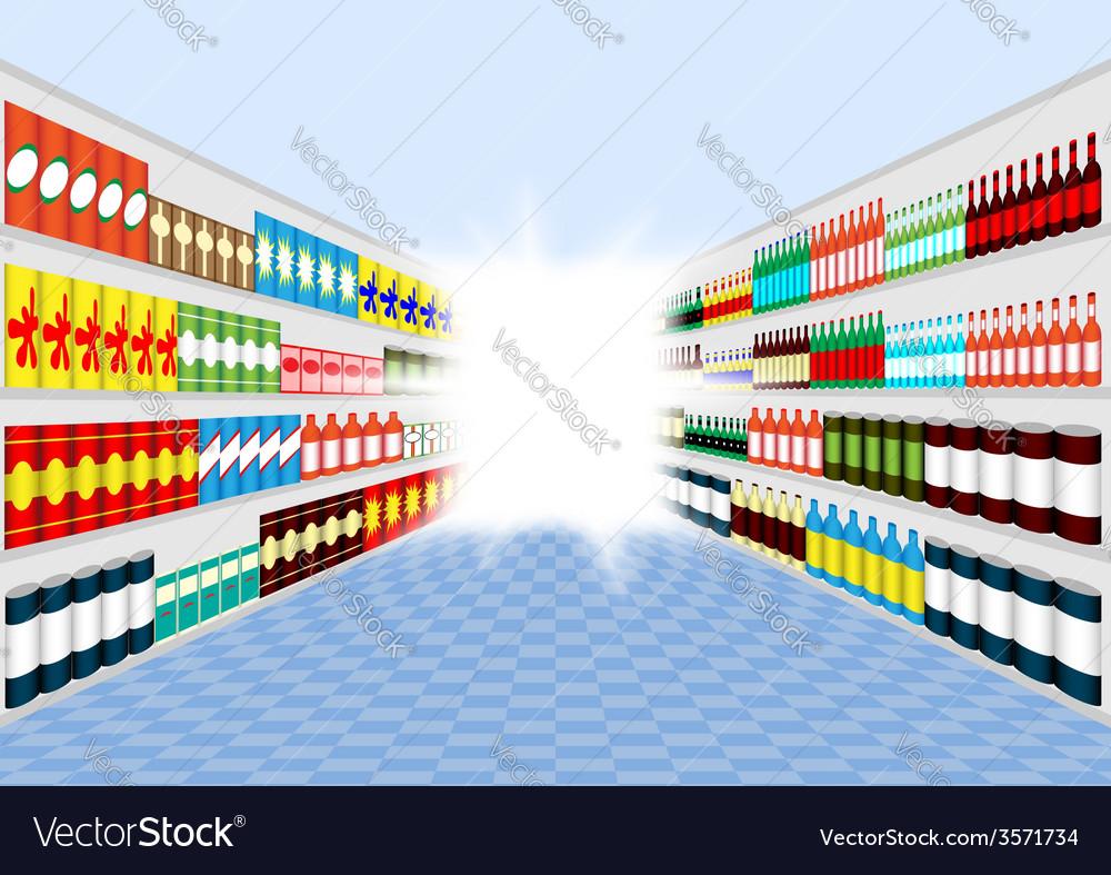 Supermarket shelves corridor vector | Price: 1 Credit (USD $1)