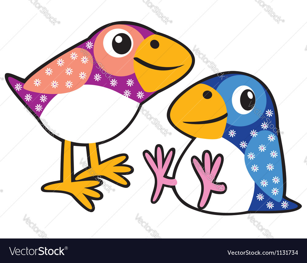 Two childish birds vector | Price: 1 Credit (USD $1)
