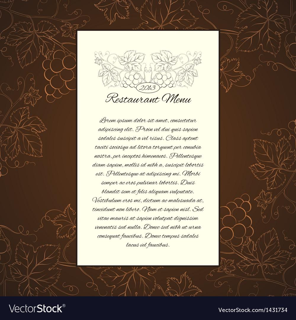 Wine menu card template vector | Price: 1 Credit (USD $1)
