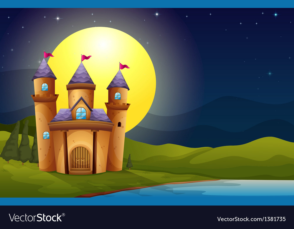 A castle in a full moon scenery vector | Price: 1 Credit (USD $1)