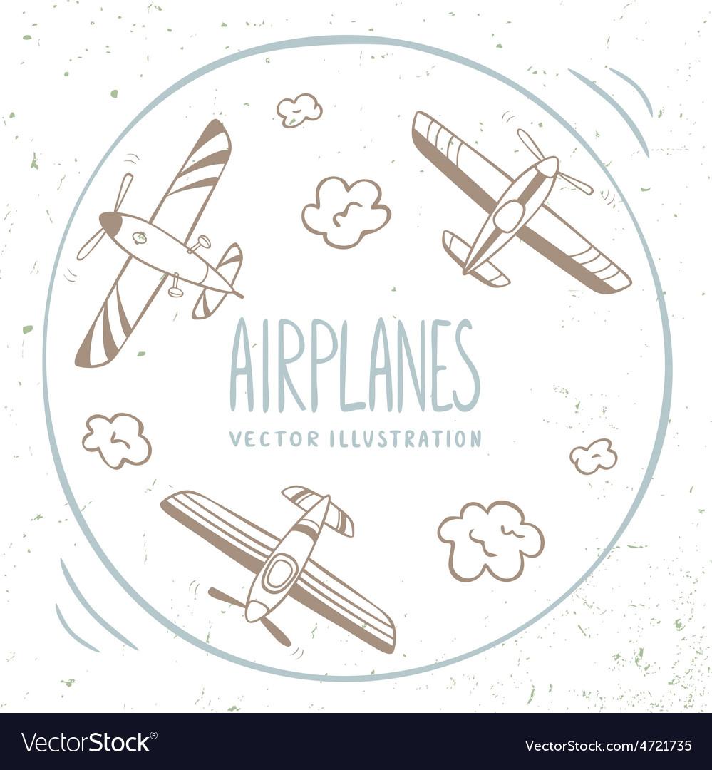 Airplanes around vector | Price: 1 Credit (USD $1)
