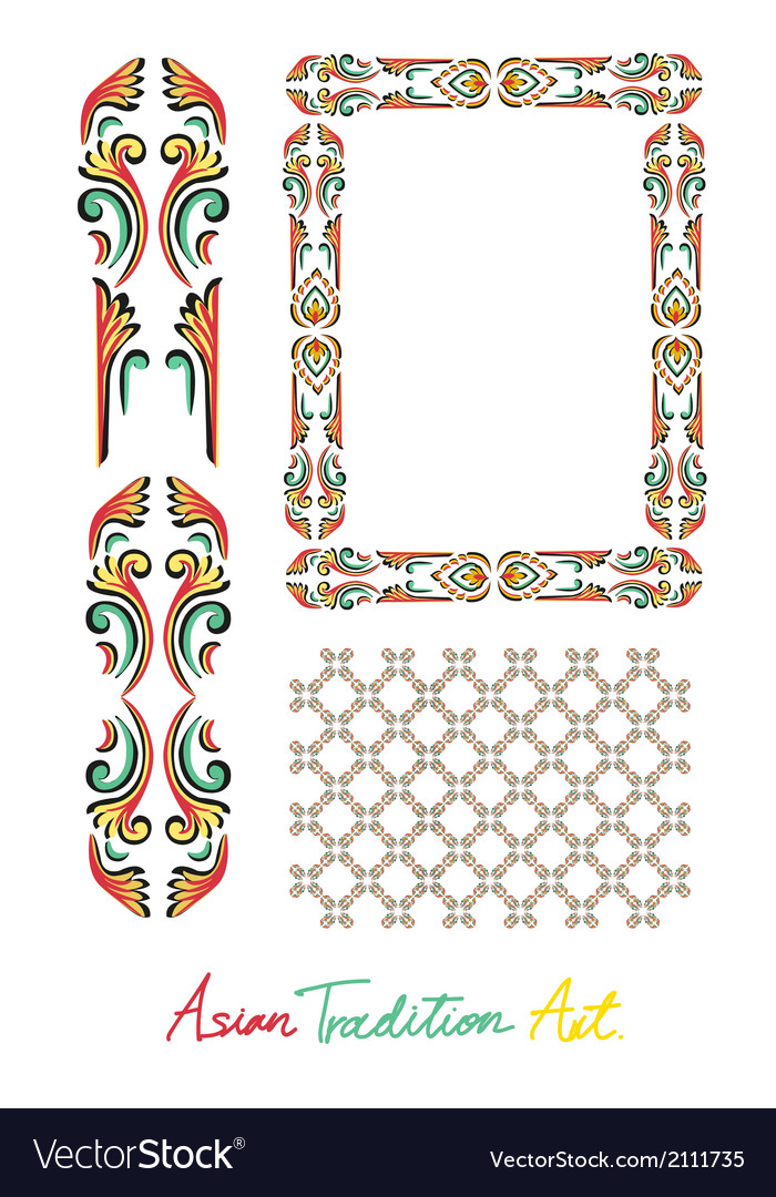 Asian tradition style art collection vector | Price: 1 Credit (USD $1)