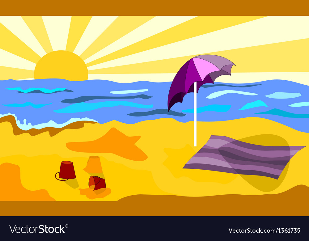 Beach in a sunny day vector | Price: 1 Credit (USD $1)