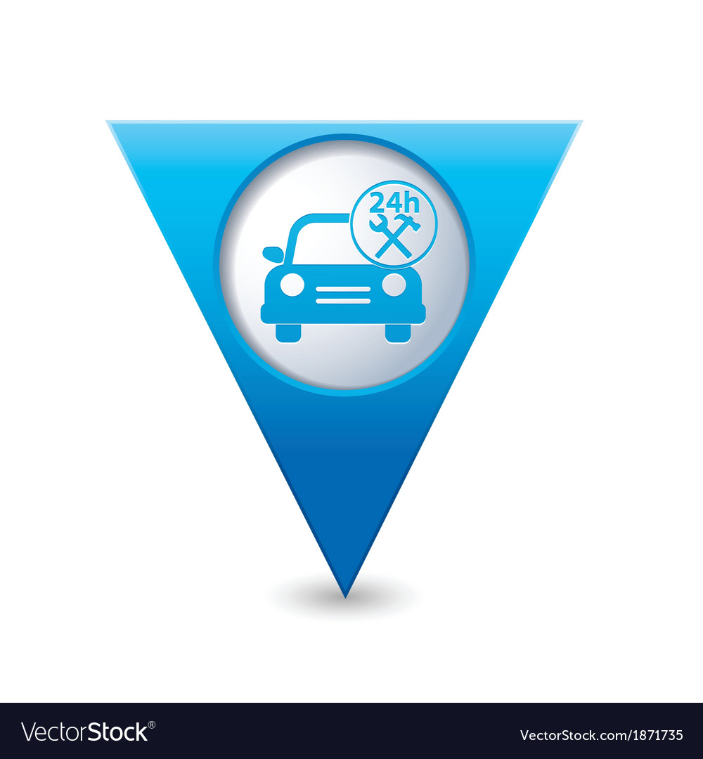 Car with tools icon map pointer blue vector | Price: 1 Credit (USD $1)