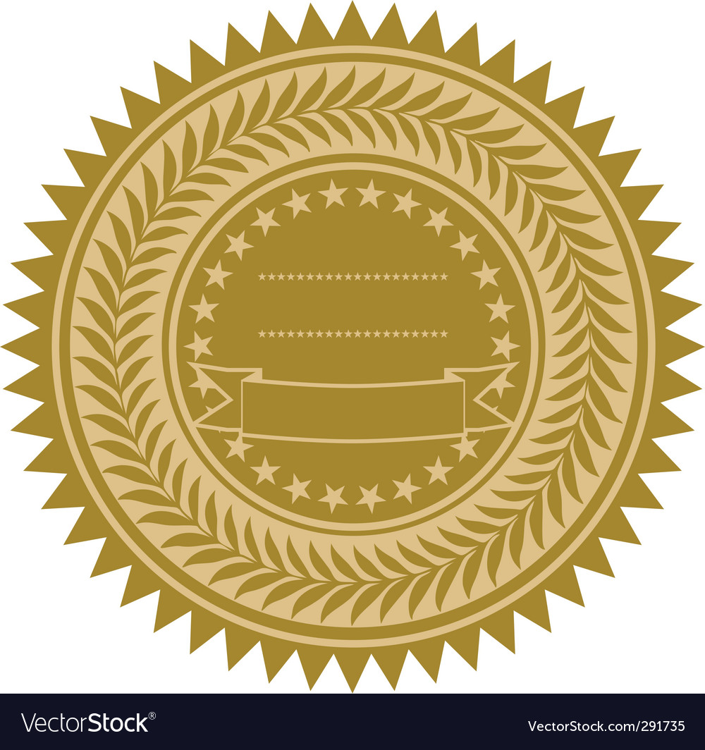 Gold wreath seal vector | Price: 1 Credit (USD $1)