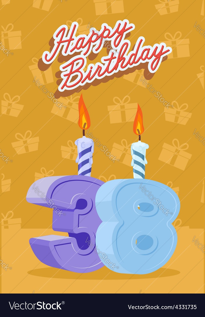 Happy birthday age 38 announcement and celebration vector | Price: 1 Credit (USD $1)