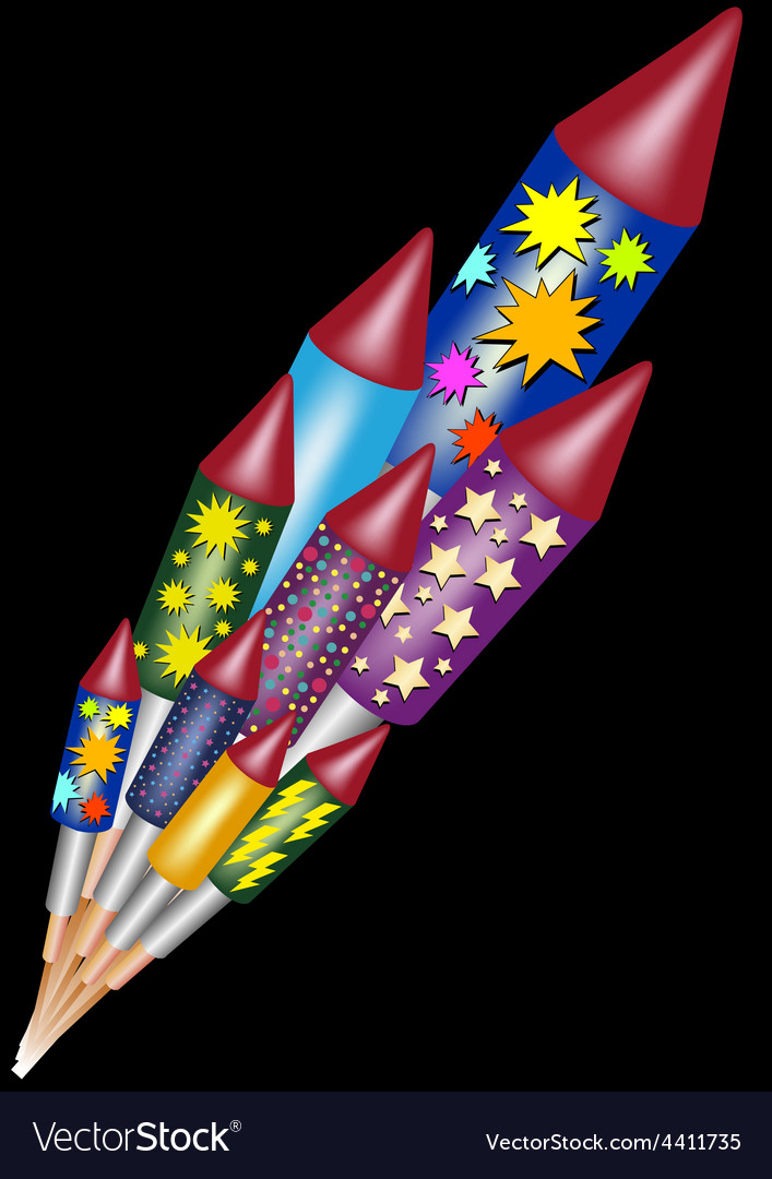 Happy new year - bottle rockets vector | Price: 1 Credit (USD $1)