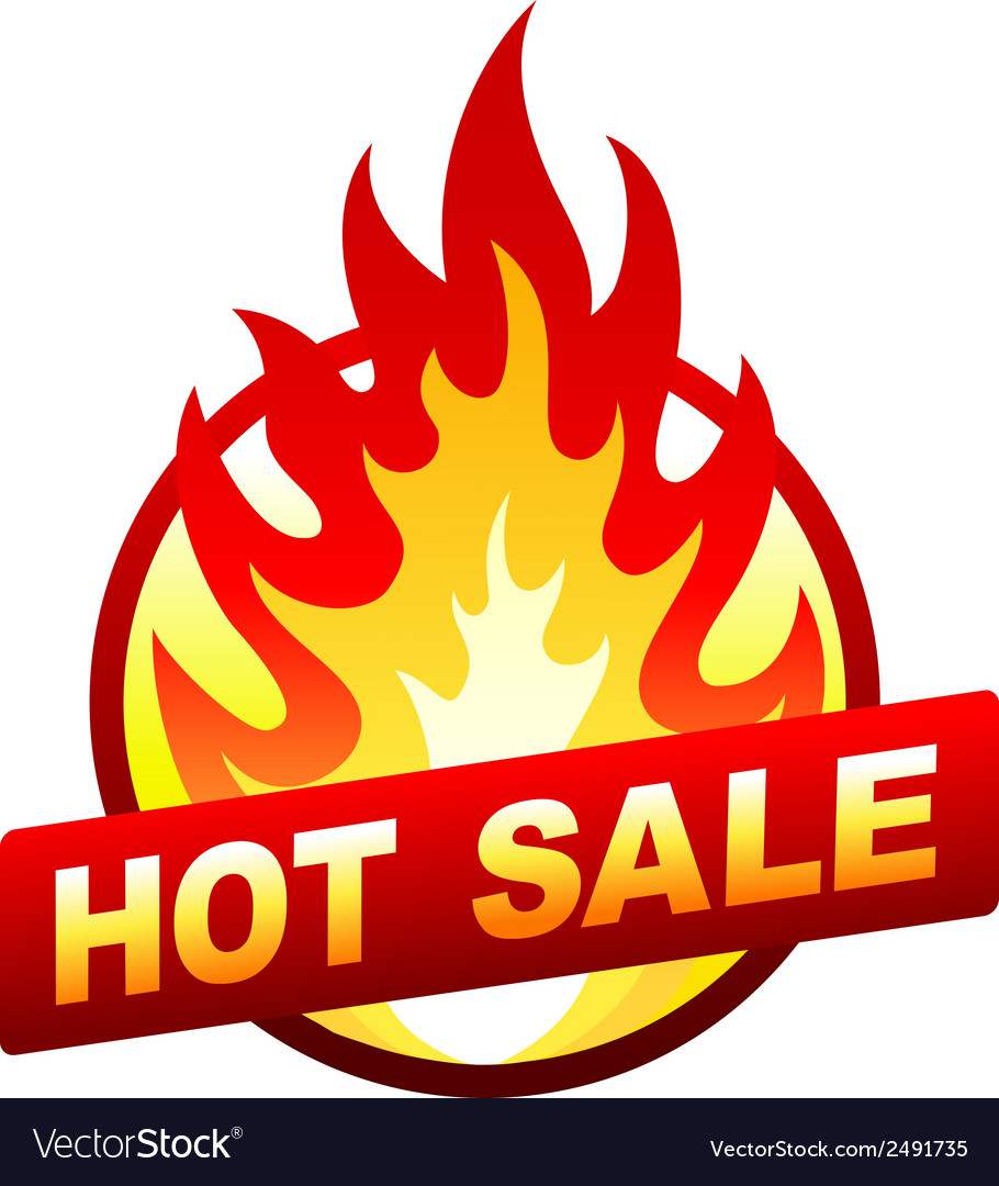 Hot sale fire badge price sticker flame vector | Price: 1 Credit (USD $1)
