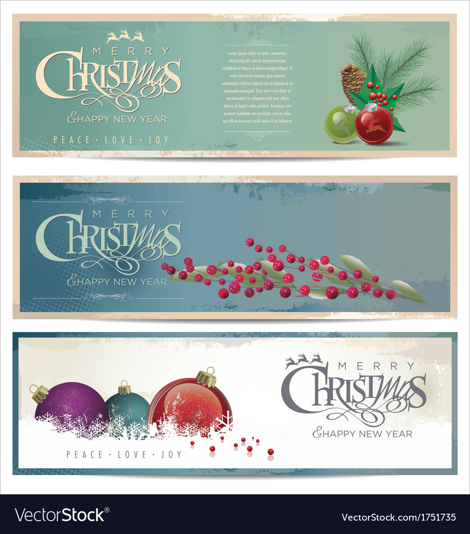 Merry christmas banner set vector | Price: 1 Credit (USD $1)
