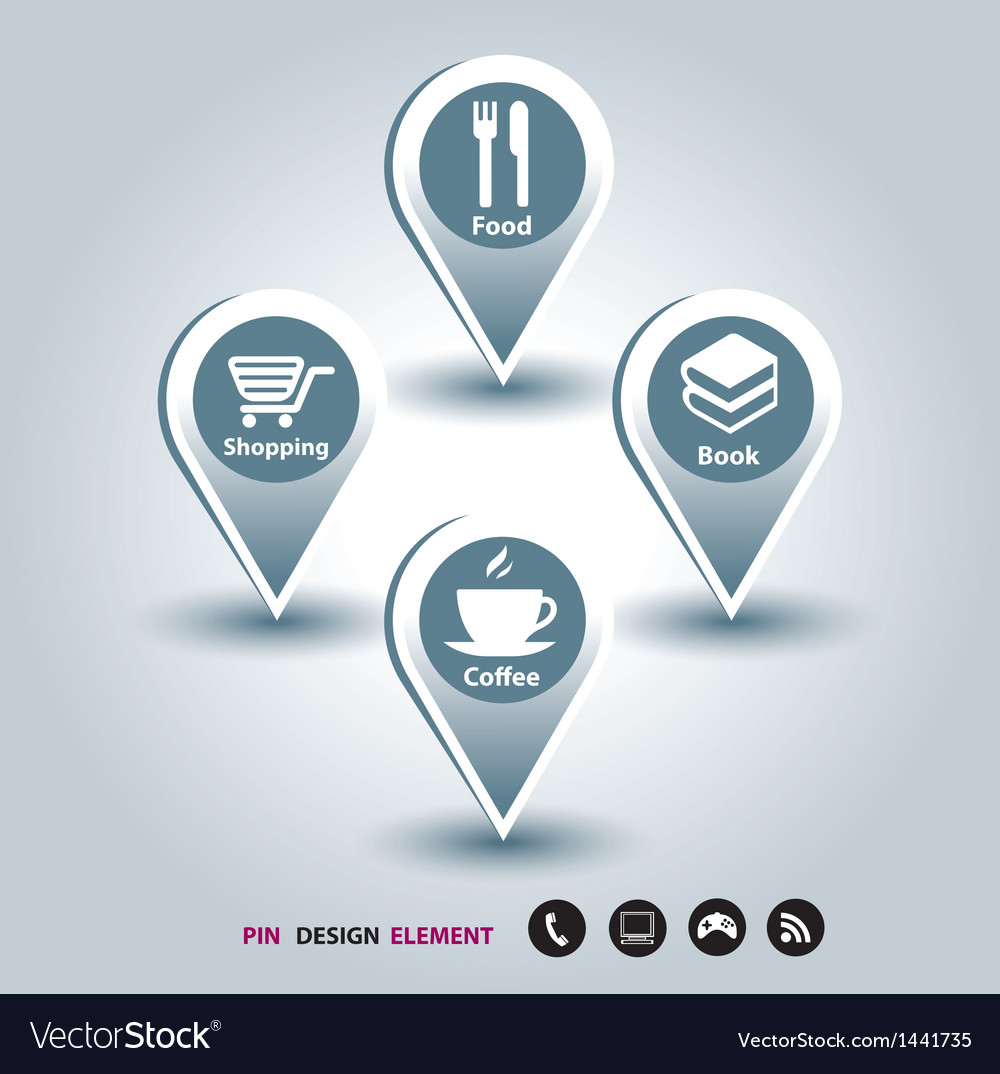Modern design template mapping pins icon vector | Price: 1 Credit (USD $1)