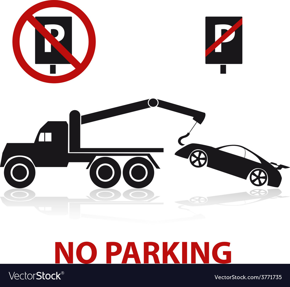 No parking symbols with car and signs eps10 vector | Price: 1 Credit (USD $1)