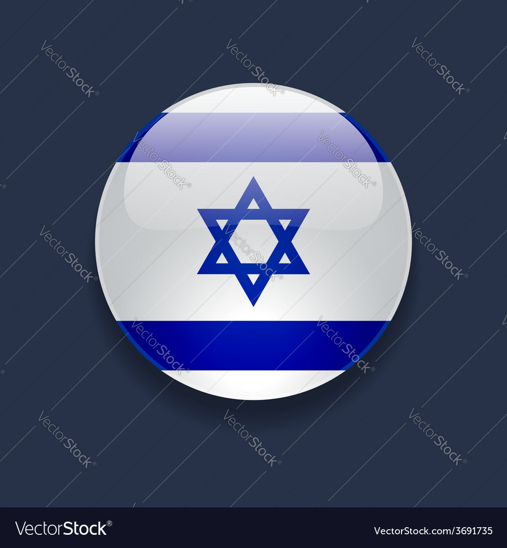 Round icon with flag of israel vector | Price: 1 Credit (USD $1)